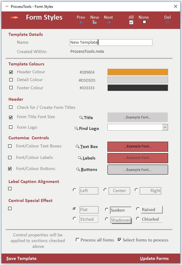 Examlple of the ProcessTools Access Add-In Form Styles Tool