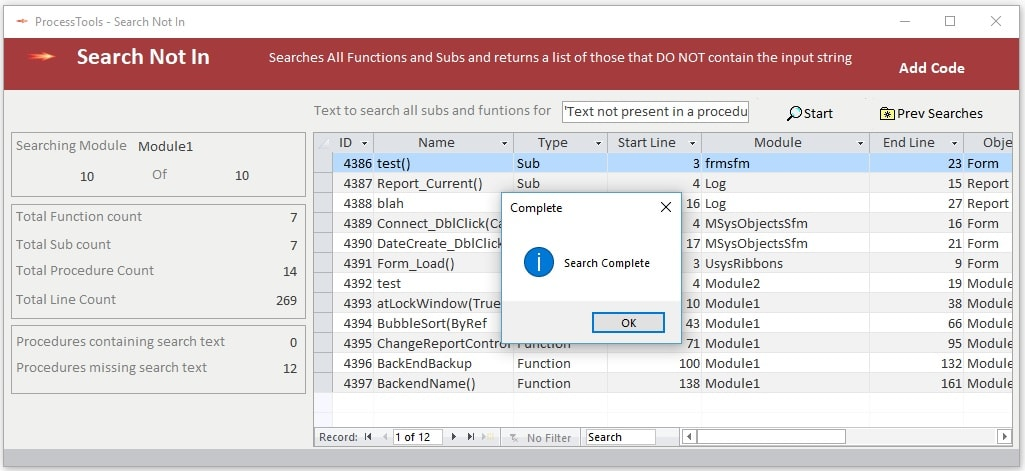 Examlple of the ProcessTools Access Add-In Search Not In Tool