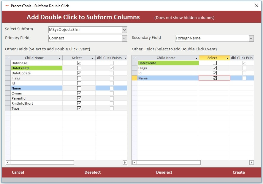 Examlple of the ProcessTools Access Add-In Subform Columns Double Click Tool